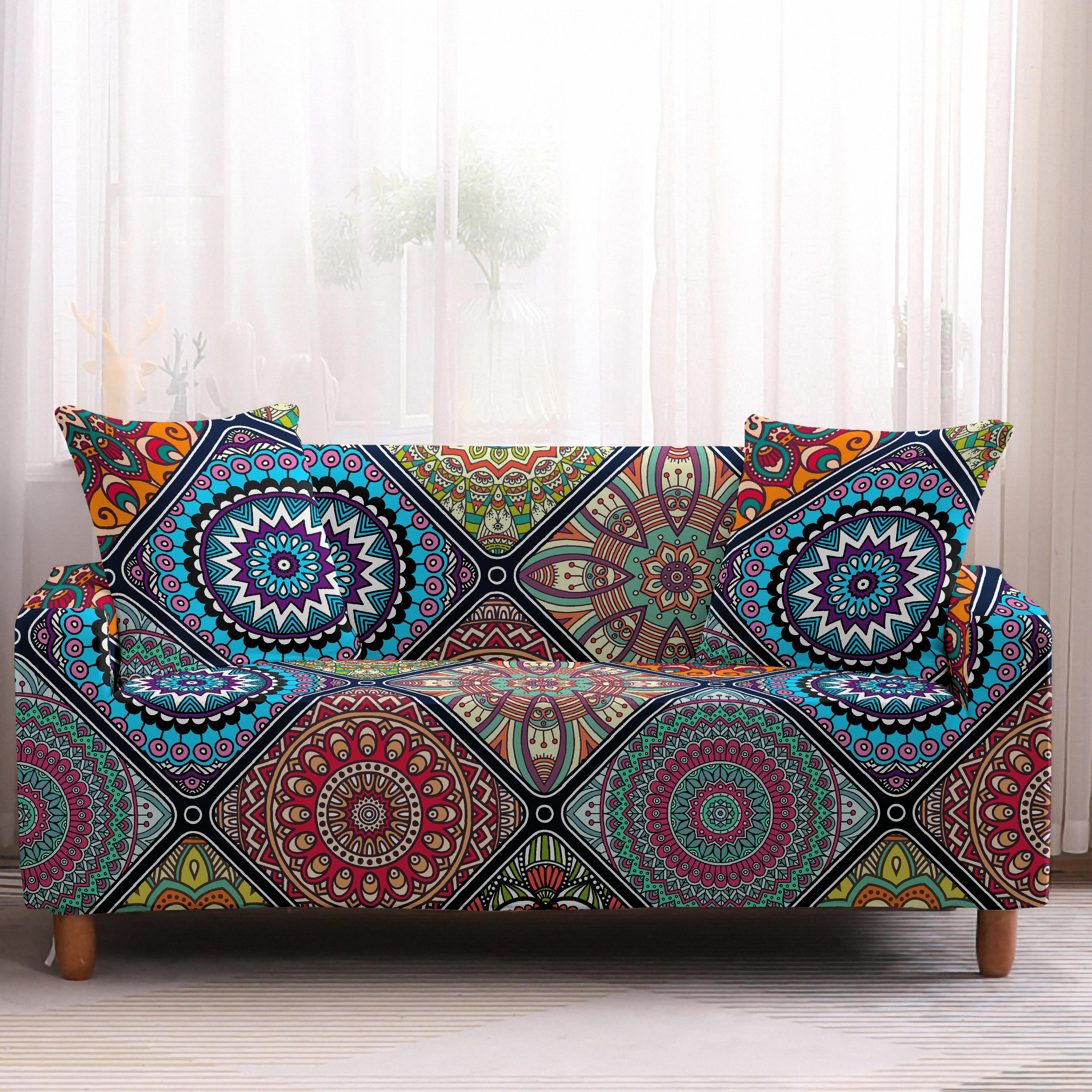 Bohemia Slipcovers Sofa Cover in Mandala Pattern to Protect Living Room Furniture from Stains and Dust 5