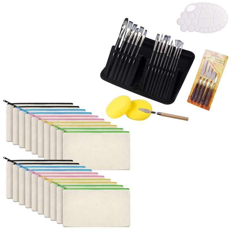 Canvas Bag Canvas Zipper Bag Pen Bag Diy Bag (20 Pcs) with 24Pcs Paint Brushes Set,Palette Knife and Spongeb Brushes