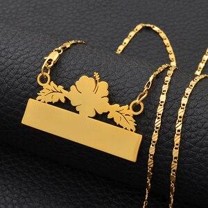 Image 5 - Anniyo אישית שם שרשרת עגילי מיקרונזיה גואם הוואי פרח תכשיטי סטי עבור הדפסת מכתבי יום הולדת מתנה #116621