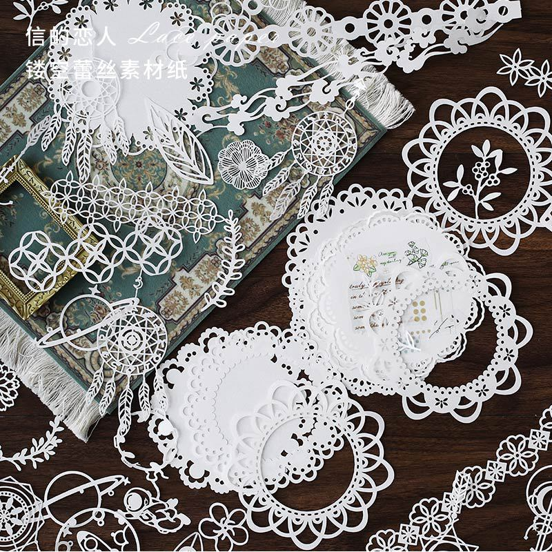 10pcs/pack Vintage Hollow Lace Collage Material Paper Simple Fresh Cosmic interstellar Green Leaf  Deco Sticker DIY Scrapbooking