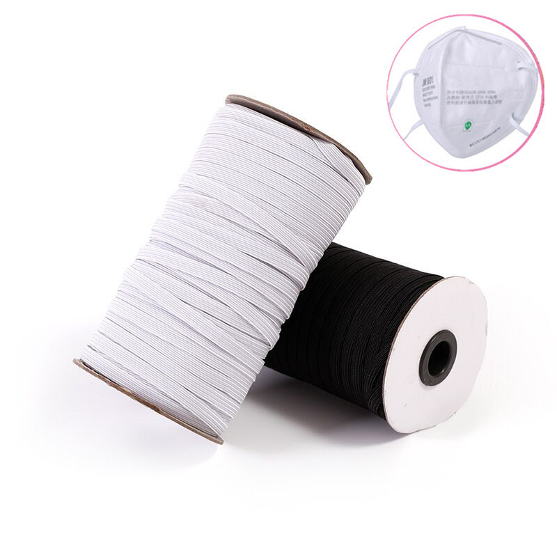 3mm 6mm Elastic Band Masks White Black 3mm-12mm High Elastic Flat Rubber Band Waist Band Sewing Stretch Rope DIY Mask