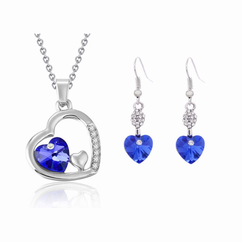 925 sterling silver necklace earrings ladies, water drops peach blue jewelry, wedding / engagement Fine jewelry set S0125