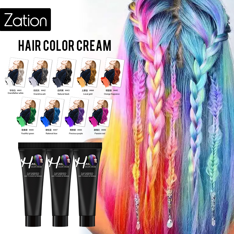 Zation Hot Fashion Permanent Punk Salon Hair Dye Light Gray Color Cream 9 Colors Hair Dye Not Hurt Hair Fast Hair Coloring image