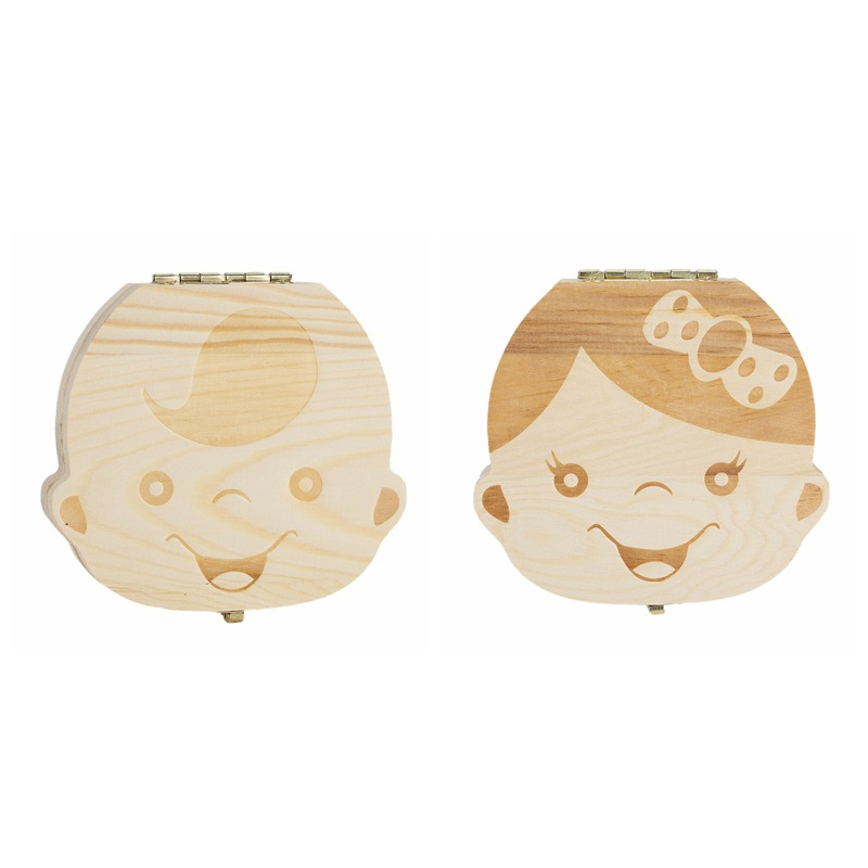 Baby Tooth Keepsake Box, Wooden First Tooth Deciduous Teeth Saver Boxes Container For Child Kids