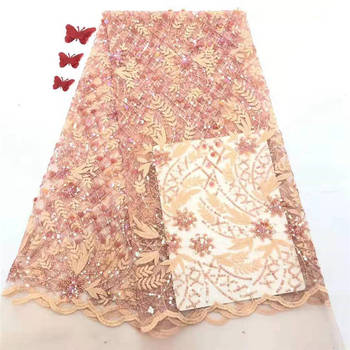2020 Latest African Net Lace Fabric High Quality Peach Sequins Nigerian Wedding Lace Fabrics Sequins French Tulle lace