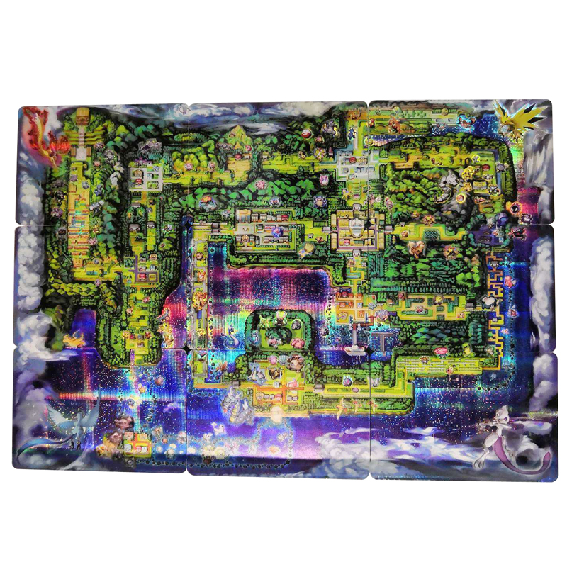 9pcs Pokemon Pikachu Map Cards Nine Puzzle Map Card Of The Early Times Game Collection Cards Christmas Gift