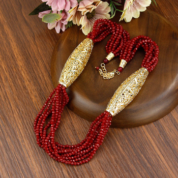 Sunspicems 2021 Gold Color Crystal Beaded Necklace For Women Morocco Wedding Jewelry Arab Handmade Natural Stone Choker Bijoux 2