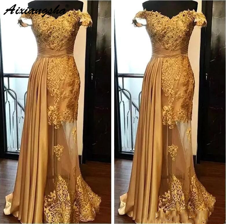 2019 Off The Shoulder Long Evening Dresses Arabic Golden Tulle Applique Ruched Beaded Lace Pageant Formal Party Gowns Prom