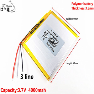 3 line 388090 3.7V 4000 mah Lithium polymer Battery with Protection Board For 7 inch 8 inch 9inch Tablet PC Ainol Aurora