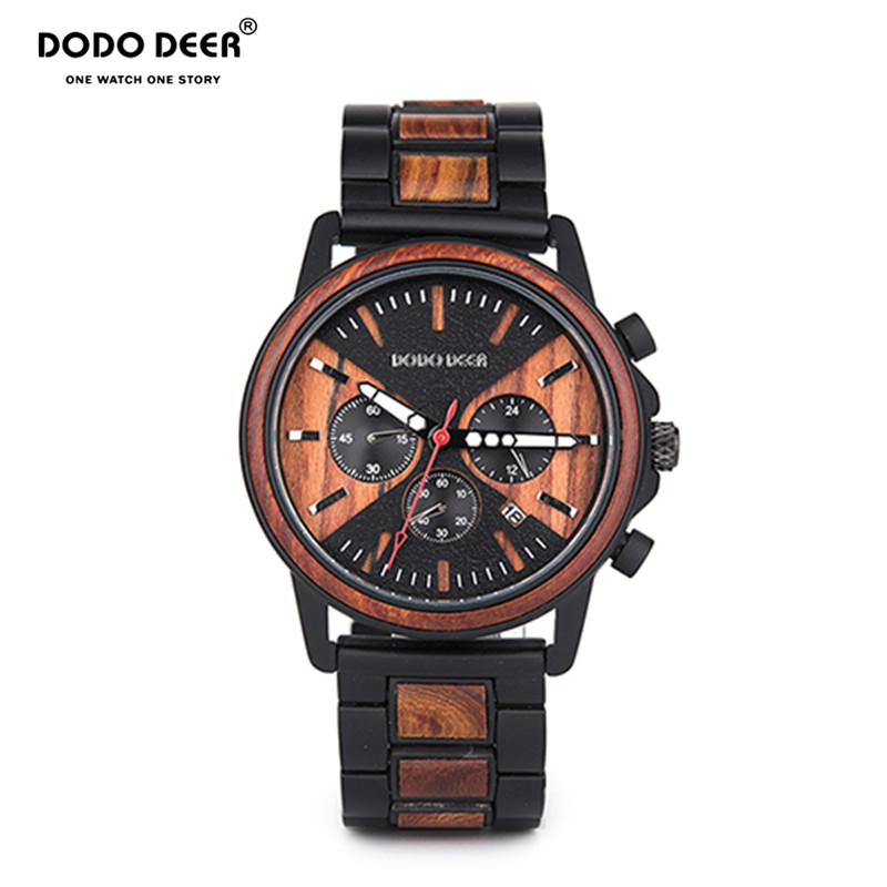 DODO DEER Relogio Masculino Wood Watch Metal Wooden Wristwatch Chronograph Watches Date Display Men's Watch Business Men C09