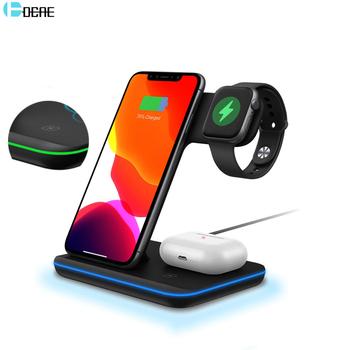 DCAE 15W 3 W 1 Qi bezprzewodowa ładowarka stojak na iPhone 11 XS XR X 8 AirPods Pro stacja dokująca do Apple Watch iWatch 5 4 3 2 tanie i dobre opinie Z tworzywa sztucznego Z wskaźnik ładowania Z kablem Z LED światła Używany z telefonu Używany z Smartwatch Używany z słuchawki