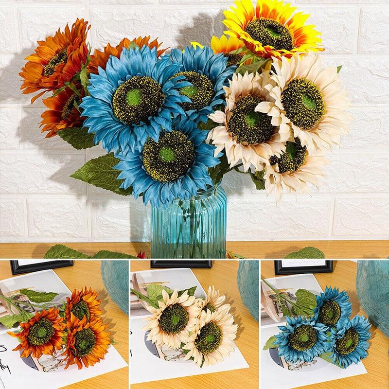 Bouquet de fausses fleurs de tournesol artificielles, décoration de fête à domicile, de mariage, de tournessol BDF99