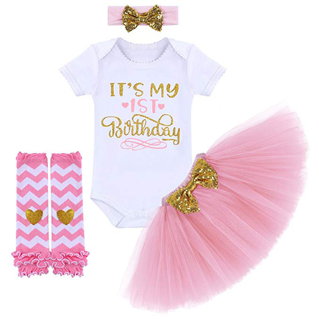 Christmas Baby Outfit My First Christmas Baby Girl Romper Top and Tutu Skirt Leg Warmers with Headband 4PC Clothes Set