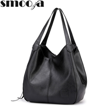 SMOOZA 2019 New Vintage Leather luxury handbags women bags designer bags famous brand women bags Large Capacity Tote Bags sac