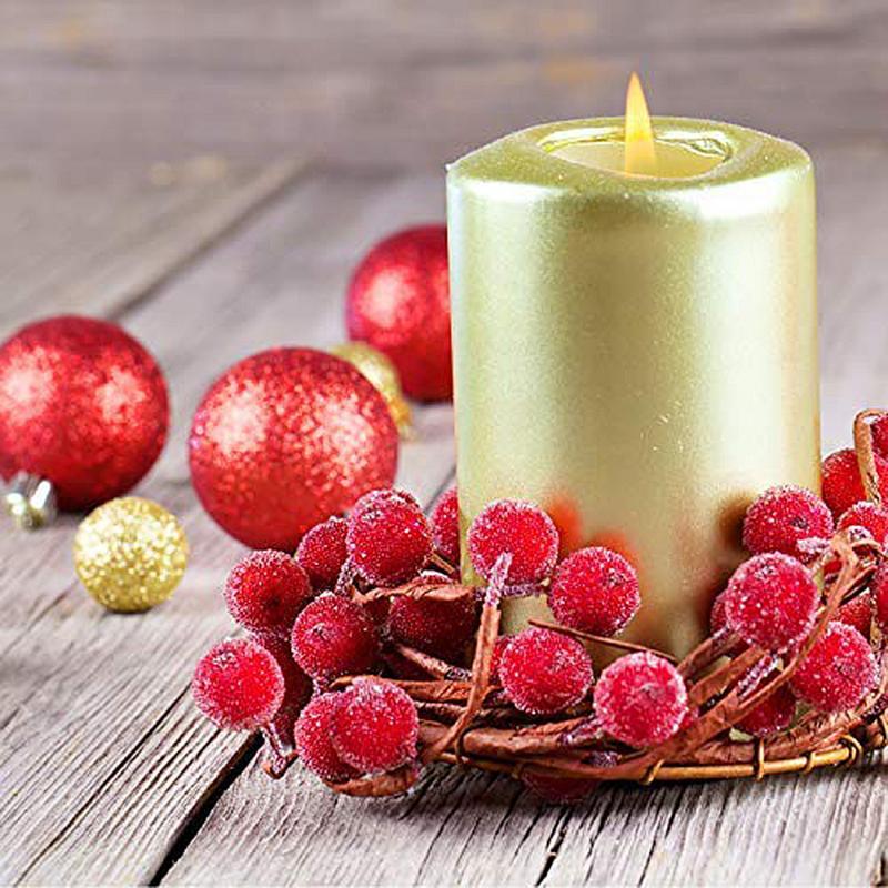 Miniguirnalda Decorativa Para El Hogar Baya Artificial Esmerilada De Navidad De Acebo Roja Vívida Bayas De Acebo Herramientas Flores Artificiales Y Secas Aliexpress