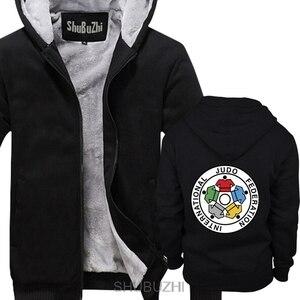 Image 4 - Nuovo IJF International Judo Federation Logo degli uomini di inverno con cappuccio di spessore con cappuccio inverno Straight jacket sbz4597