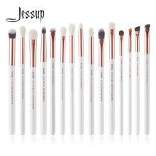 Jessup makyaj fırça kiti 15 adet inci beyaz/gül altın pinceaux maquillage kozmetik araçları Eyeliner Shader kapatıcı kalem T217