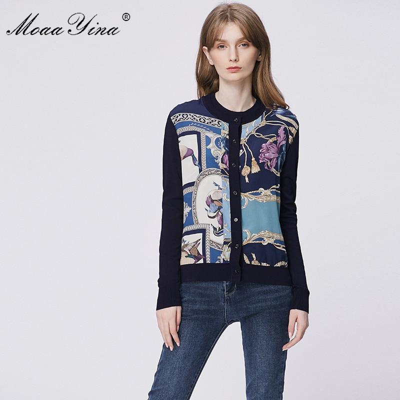 MoaaYina Spring Fashion Long sleeve Knitting Tops Womens Elegant Print Cardigans Silk Wool SweaterCardigans