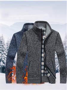 Jackets Coat Knitwear Wool Sweater Faux-Fur Zipper Autumn Men's Winter Casual Warm M-3XL