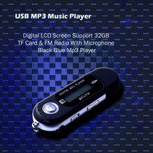 USB MP3 מוסיקה נגן דיגיטלי LCD מסך תמיכת 32GB TF כרטיס & FM רדיו עם מיקרופון שחור כחול Mp3 נגן