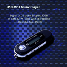 USB MP3 Music Player Digital LCD Screen Support 32GB TF Card & FM Radio With Microphone Black Blue Mp3 Player