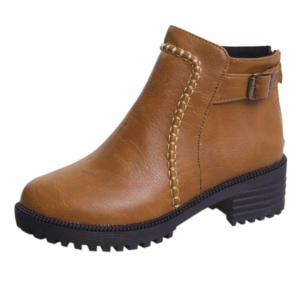 Dây Nịt Nam Sinh Viên Giày Bốt Nữ Cao Gót Dày Nền Tảng Đơn Giày Bốt Thời Trang Da PU Mũi Nhọn Giày Botas mujer