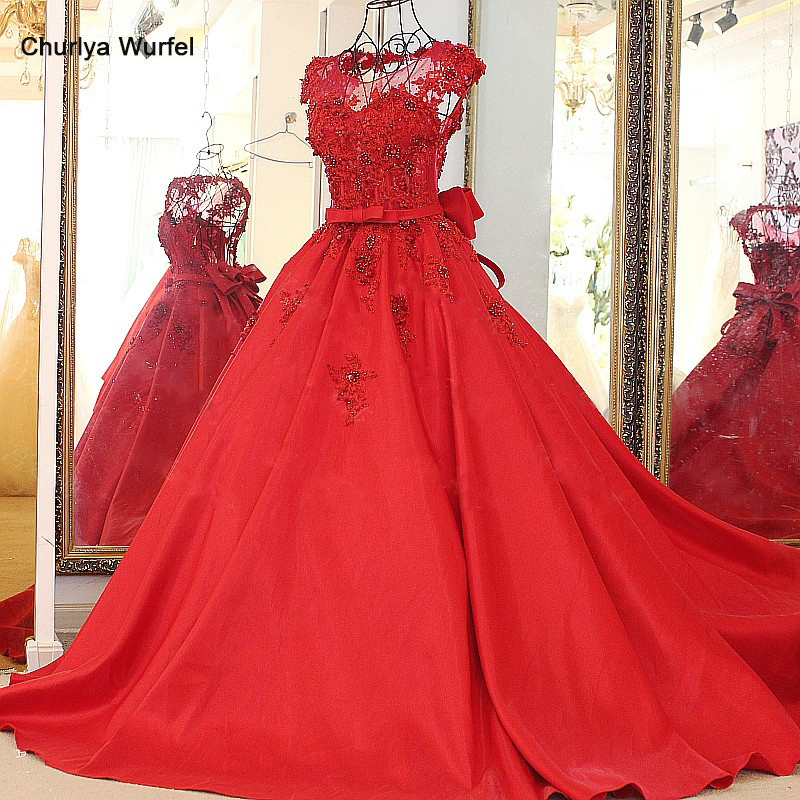 LS88515 Wine red backless evening dresses appliqued lace puffy princess party evening dress elegant abendkleider lang