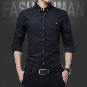 Image 5 - TFETTERS pamuklu akıllı rahat erkekler gömlek uzun kollu jakarlı örgü Slim Fit gömlek erkekler pamuk erkek gömlekler erkek giysileri