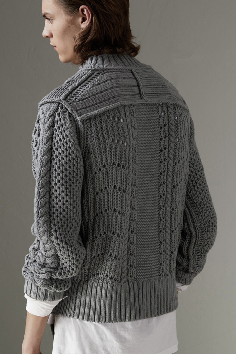 100% hand knit twisted men short pullover sweater half high collar M/170-XL/180
