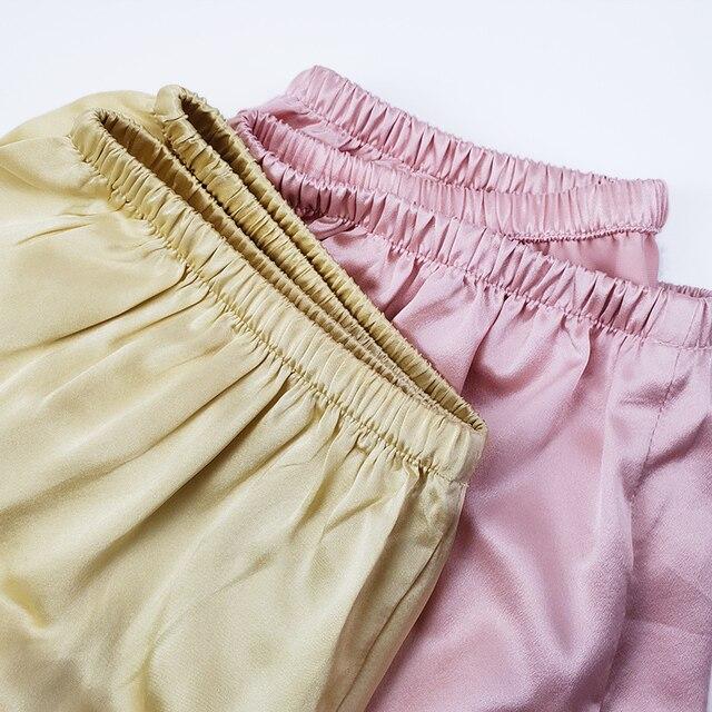 SuyaDream Woman Silk Shorts 19mm 100%Silk Satin Comfortable Healthy Elastic Waist Home Shorts 2021 Spring Summer Solid Short 3