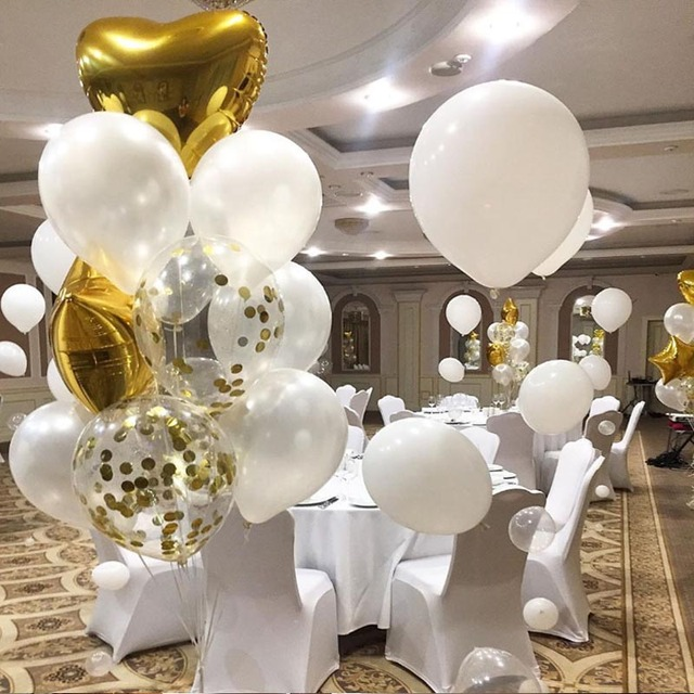 Balloon Garland Arch Kit White Gold Confetti Balloons 108PCS Wedding Birthday Party Decorations Kids Adult for Festive Suppies