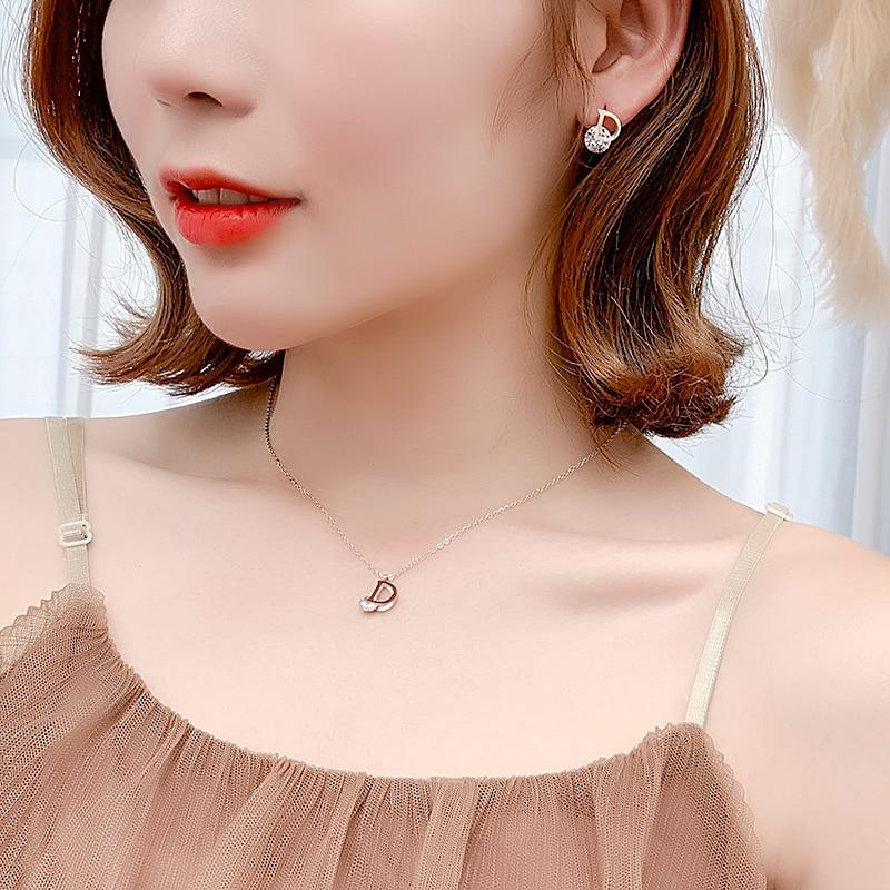 Luxury AAA Zircon Titanium Steel Stud Earring Rose Gold Piercing Letter D Earrings For Women's Ear Jewelry