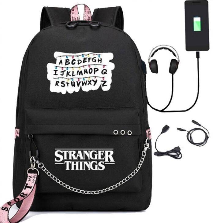 Movie Stranger Things USB Backpack School Book Travel Bags Laptop Chain Backpack Headphone USB Ports Cosplay Boys Girls