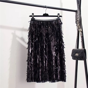 Image 5 - Marwin 2019 New Coming Autumn Winter Sequins Skirts Fashion Beading Knee Length Empire Sexy Club Christmas Skirts