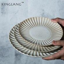 KINGLANG Jingdezhen – assiette à steak créative, assiette occidentale, assiette à petit déjeuner, assiette à pâtes, assiette de personnalité, assiette à fruits, 1 pièces