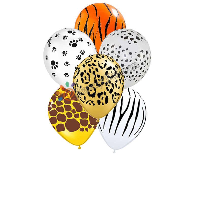 20pcs 12inch 2.8g Zebra Luipaard Tijger Voeters Giraffe Patroon Latex Ballonnen Baby Douche Bithday Party Decoraties Dier ballon