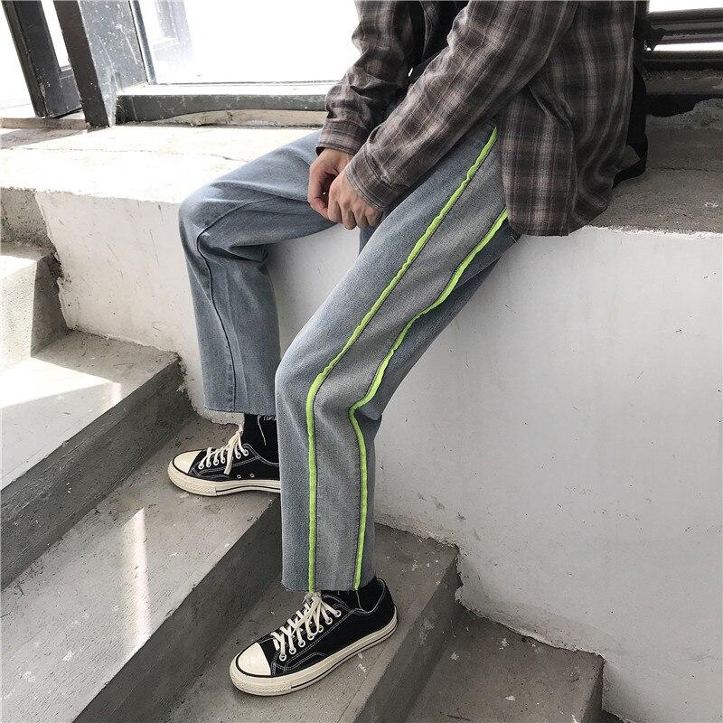New Straight Jeans Men's Fashion Solid Color Casual Retro Jean Pants Men Streetwear Wild Loose Hip Hop Denim Trousers Mens S-2XL