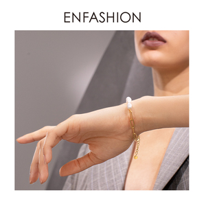Image 5 - Enfashion Natuurlijke Parel Link Chain Armband Vrouwelijke Gouden Kleur Rvs Femme Armbanden Voor Vrouwen Mode sieraden B192069