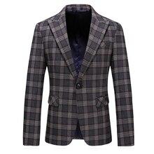 fashion autumn warm mens plaid blazers 2019 new suit jacket plus size 5xl luxury coat