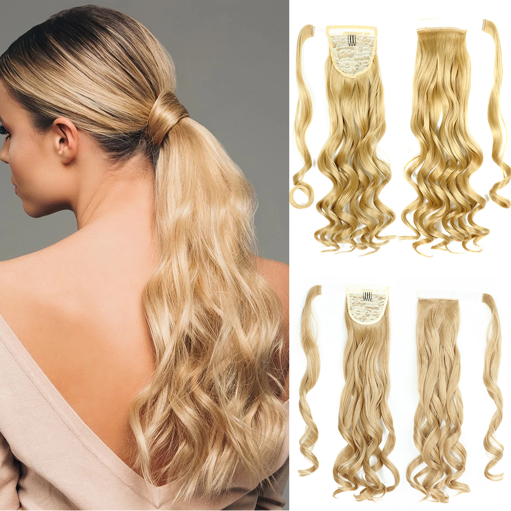 24Inch Synthetic Hair Fiber Heat-Resistant Curly Hair With Ponytail Fake Hair Chip-in Hair Extensions Pony Tail Wig