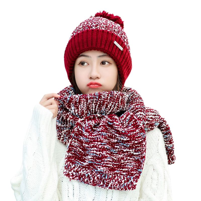 Womens Winter Warm Chunky Knitted Plush Lined Pompom Beanie Hat Long Scarf Set C6UD