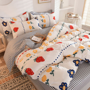 Bedding Set Strawberries And Flowers