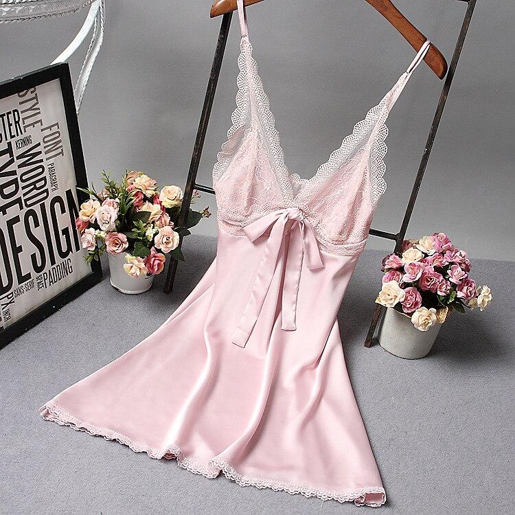 Pink Sexy Womens V-Neck Pajamas Sleep Robe Sleeveless Sleepwear Summer Lady Home Wear   Nightgown   Bath Gown   Sleepshirts   M-XXL
