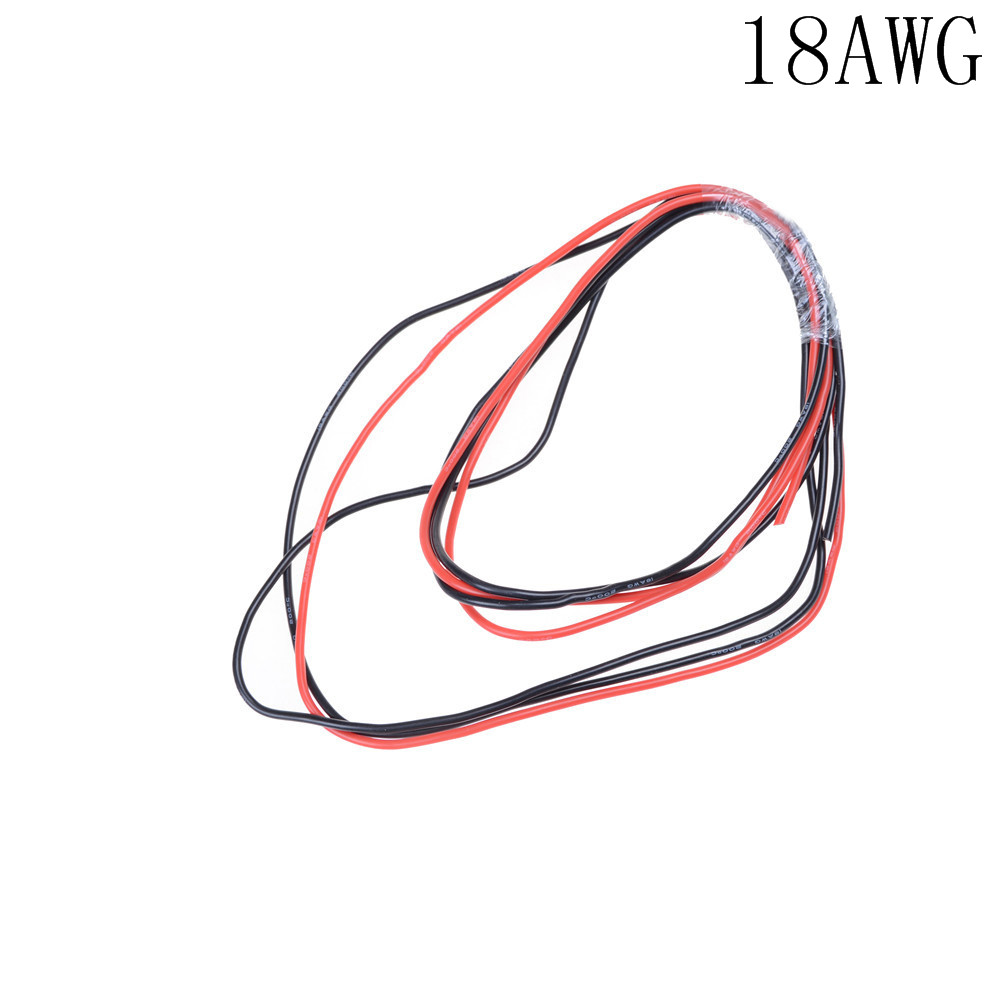 New Red+1M Black Silicon Wire 12AWG 14AWG 16AWG 22AWG 24AWG Heatproof Soft Silicone Wire Cable 1M