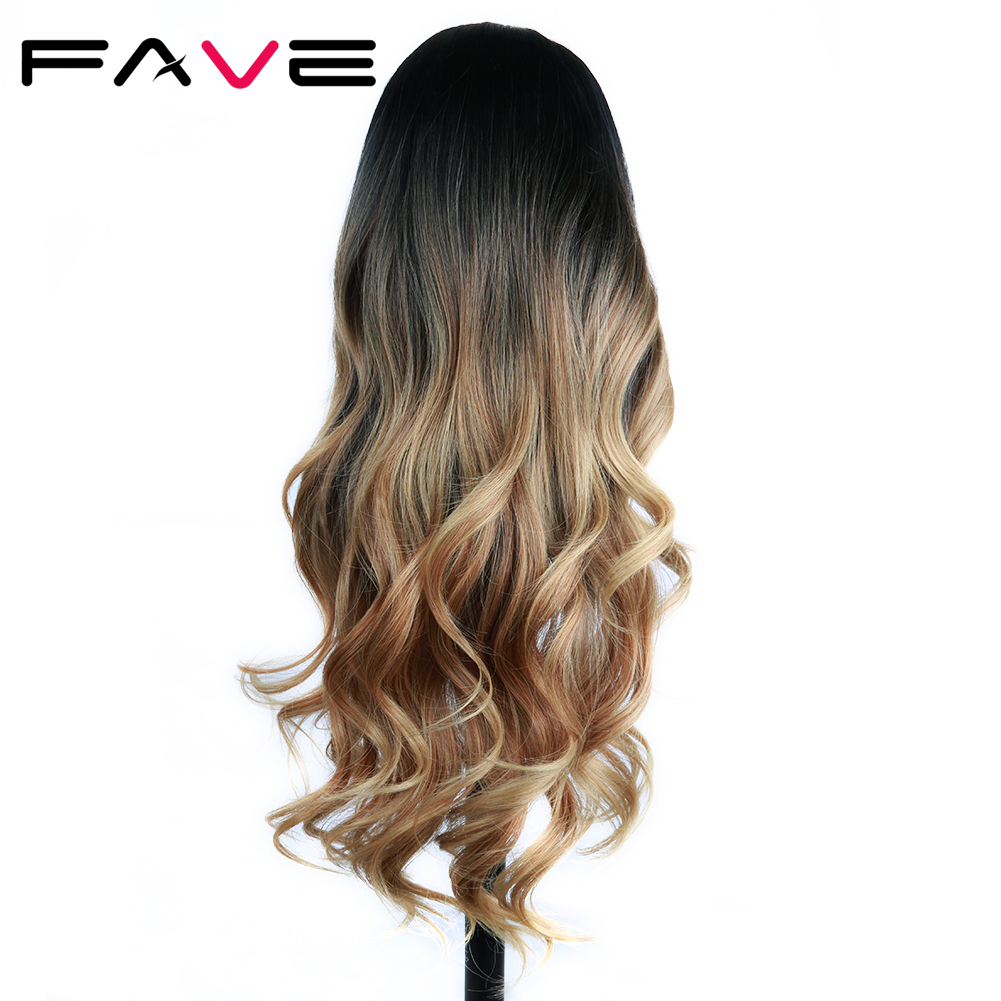 FAVE Synthetic Hair Wig Long Wavy Wig Ombre Black Brown Heat Resistant Fiber For Black/White Women Cosplay/Party Cosplay Wigs