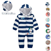 Winter Baby Rompers cartoon style baby coral fleece brand Hoodies Jumpsuit baby girls boys clothes newborn toddle clothing