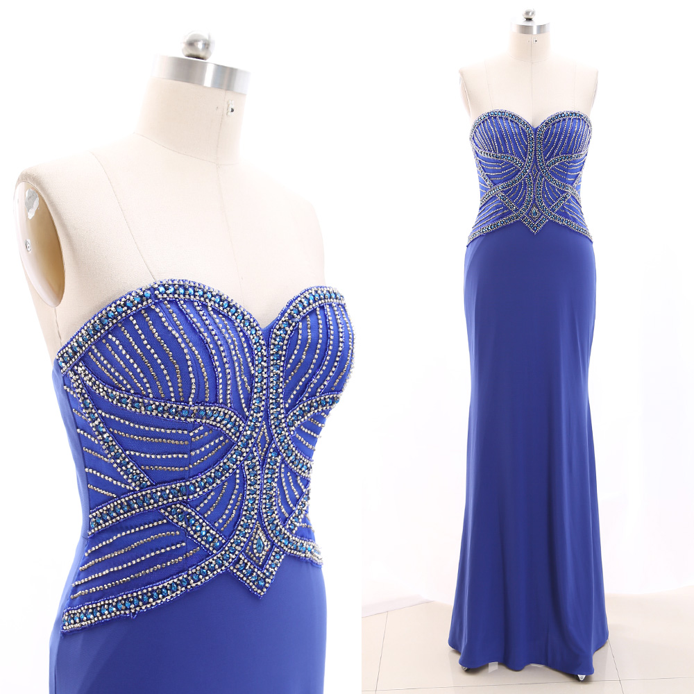 MACloth Blue Sheath Strapless Floor-Length Long Crystal Jersey   Prom     Dresses     Dress   L 266663 Clearance