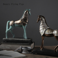 Vintage War Horse Statue Window Display Gift Resin Crafts Horse Sculpture Home Decoration Accessories Decoration Christmas Gift