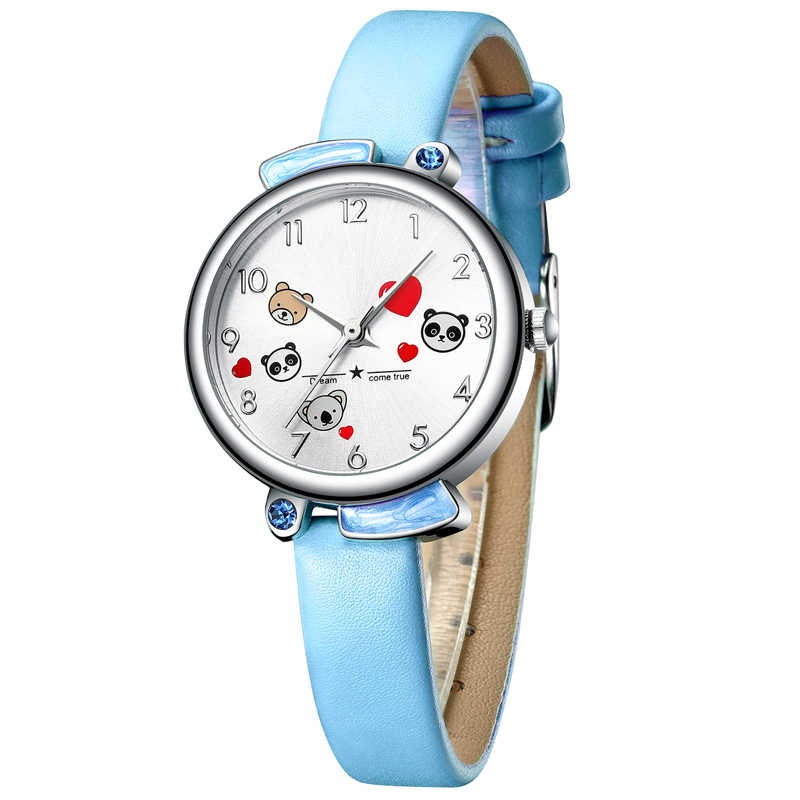 Montres enfant KDM étudiant fille garçon horloge mode mignon dessin animé Panda étanche montre enfants en cuir véritable enfants montre-bracelet