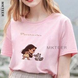 Женская летняя футболка Camiseta Mujer Kawaii Pocahontas & Meeko эстетический Ulzzang топы с принтом Harajuku футболка Повседневная модная уличная одежда